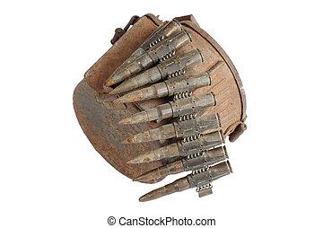 old rusty machine gun ammunition case isolated