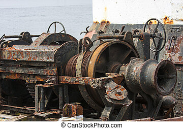 Old rusty machinery on a fishing boat