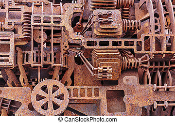 Old rusty mechanical parts, background