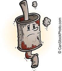 Old Rusty Muffler Cartoon Character