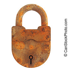 Old rusty padlock closed