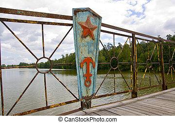 Old rusty part of bridge