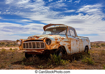 Old rusty relic car in Australian outback - An old rusting...