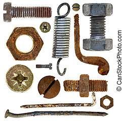 old rusty screw head nail hook spring - collection old rusty...