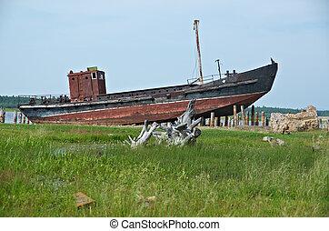 Old rusty ship of Lake Baikal.