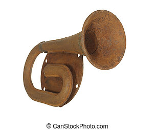 Old rusty steel car horn isolated on a white background.
