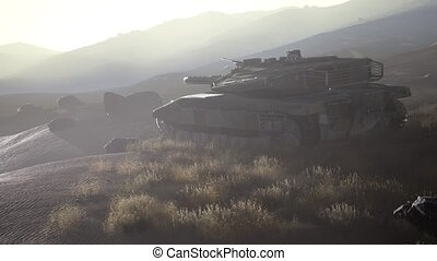 old rusty tank in the desert at sunset