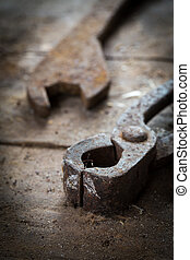 Old rusty tools in the workshop