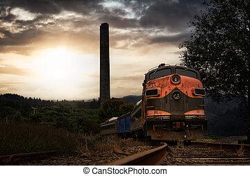 Old Rusty Train on the Railroad Tracks