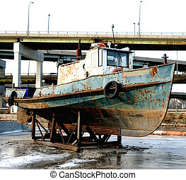 """OLD RUSTY TUG BOAT - \\\""""parked\\\"""" old rusted tug boat"""