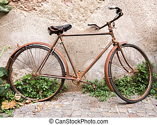 Old rusty vintage bicycle