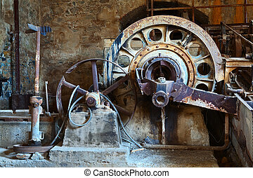 old rusty vintage industrial machinery wheathered wheel of ...