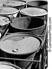 Old rusty waste barrels