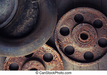 old rusty wheels