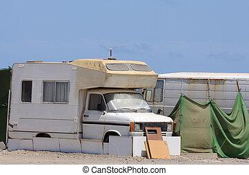 Old RV in a trailer park. Canary Island Fuerteventura, Spain