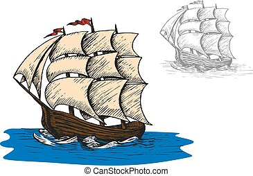 Old sail sip in ocean