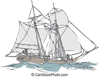 old sailboat  - draw from a sail boat made by simple traces