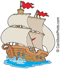 Old sailboat on white background - vector illustration.