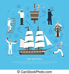 Old Sailboat Sailor Composition Retro