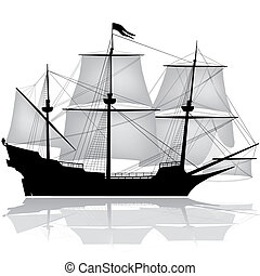 Old sailing boat vector