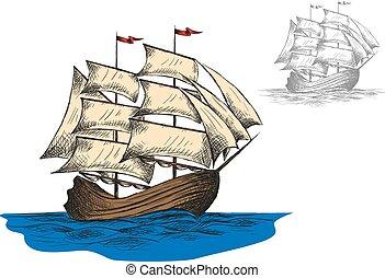 Old sailing ship among ocean waves