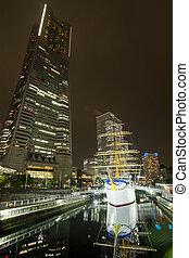 Old sailing ship and skyscraper