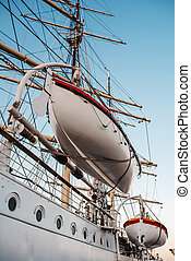old sailing ship, frigate at anchor in the port