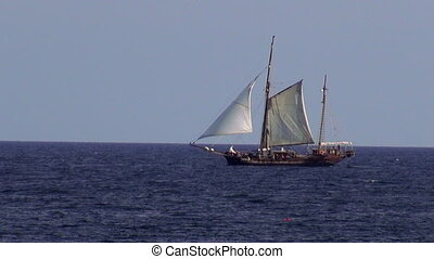 Old sailing ship on the ocean