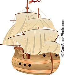Old Sailing Ship - Vintage wooden sailing ship on white...