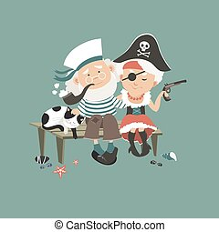 Old sailor sitting on bench with his beloved pirate
