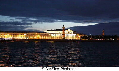 Old Saint Petersburg Stock Exchange and Rostral Columns...