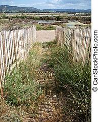 Old saltern landscape - Scenic landscape of old salt pans in...