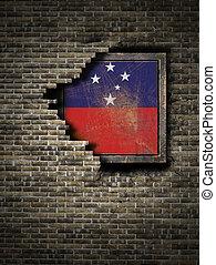 Old Samoa flag in brick wall