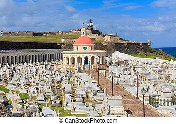 Old San Juan, El Morro fort and Santa Maria Magdalena cemetery, Puerto Rico
