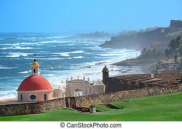 Old San Juan ocean view with buildings
