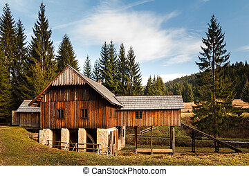 old sawmill in the museum Kysuce village, Slovakia, central Europe