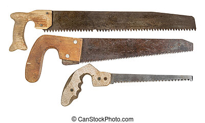 old saws isolated on white