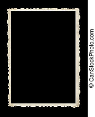 Old Scalloped Photo Frame Isolated on Black