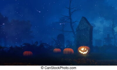 Old scary cemetery at mystical Halloween night -...