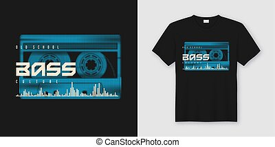 Old school bass t-shirt and apparel trendy design with...
