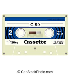 Old school compact cassette tape, eightees design.