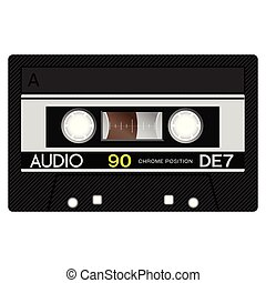 Old school compact cassette tape, eightees design.