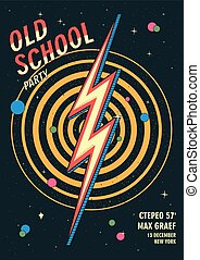 Old school dance party poster in retro design. Vector...