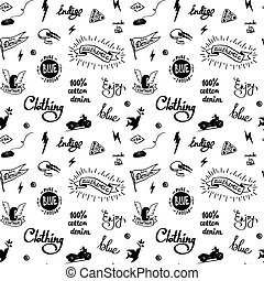 old school denim biker pattern, tatooo style