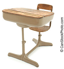Old School Desk - Old wooden and metal school desk over...