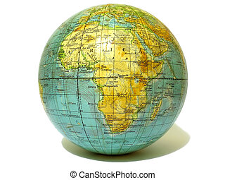 Old school globe isolated over white background