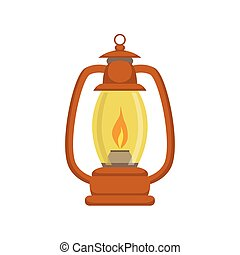Old-school Kerosene Lamp Bright Color Cartoon Simple Style...