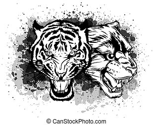 Old School Panther Head and Tiger Head Illustration.