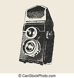 old school photography - retro camera sketch (hand drawing ...