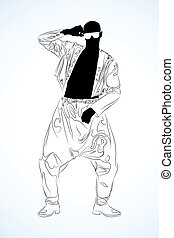 old school rap dancer - illustration of a old school rap...